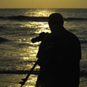 Photographer And Atlantic Ocean Sunrise Art Print