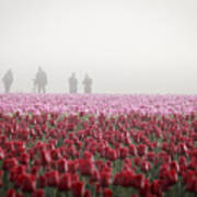 Photographers In The Mist Art Print