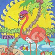 Pia The Flamboyant Flamingo Art Print