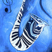 Piano Keys In A Saxophone Blue - Music In Motion Art Print