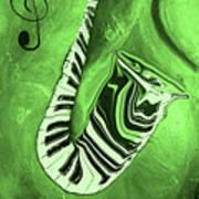 Piano Keys In A  Saxophone Green Music In Motion Art Print