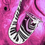 Piano Keys In A Saxophone Hot Pink - Music In Motion Art Print