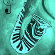 Piano Keys In A  Saxophone Teal Music In Motion Art Print