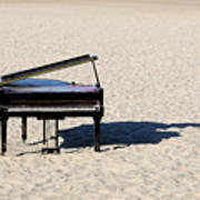 Piano On Beach Print by Hans Joachim Breuer