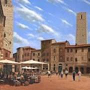 Piazza Della Cisterna San Gimignano Tuscany Art Print