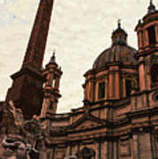 Piazza Navona At Sunset, Rome Art Print