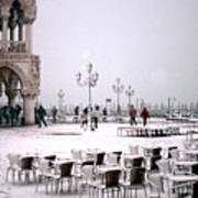 Piazzetta San Marco In Venice In The Snow Art Print