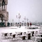 Piazzetta San Marco In Venice In The Snow Art Print