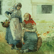 Picking Flowers Art Print by Winslow Homer