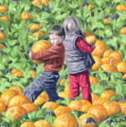 Picking Pumpkins Art Print