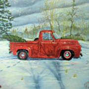 Picking Up The Christmas Tree Art Print