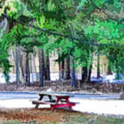 Picnic Area With Wooden Tables 3 Art Print