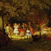 Picnic Party In The Woods Art Print