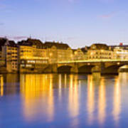 Picturesque Basel At Night Art Print
