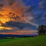 Picturesque Rural Sunset Art Print