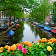 Picturesque View Amsterdam Holland Canal Flowers Art Print