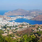Picturesque View Of Skala Greece On Patmos Island Art Print