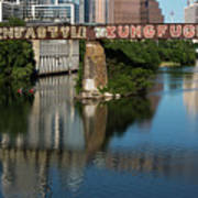 Picturesque View Of The Railroad Graffiti Bridge Over Lady Bird Lake As Canoes And Kayakers Paddle Under The Bridge On A Beautiful Summers Day Art Print