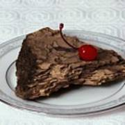 Piece Of Pine Cake With Cherry. Art Print