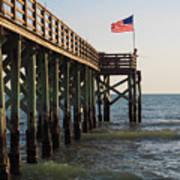 Pier, Flag, Fishing Art Print