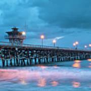 Pier In Blue Panorama Art Print