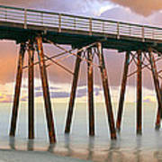 Pier On Beach During Sunrise, Playas De Art Print