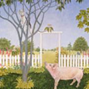 Pig And Cat Art Print
