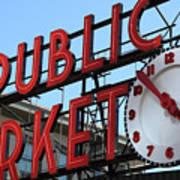 Pike Street Market Clock Art Print