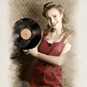Pin-up Rockabilly Woman Holding Vinyl Record Lp Art Print