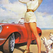 Pin up woman posing with her dog beside sport red car painting by pin up woman posing with her dog beside sport red car poster thecheapjerseys Images