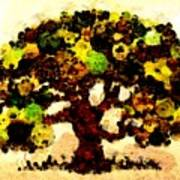 Pinatamiche Tree Painting In Crackle Paint Art Print