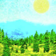 Pine Tree Mountain Blue - Shasta California Art Print