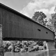 Pinetown Bushong's Covered Bridge Black And White Art Print
