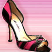 Pink And Black Stripe Shoe Art Print