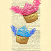 Pink And Blue Cupcakes Vintage Dictionary Art Art Print