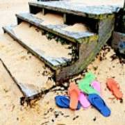 Pink And Blue Flip Flops By The Steps Art Print
