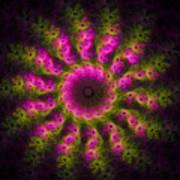 Pink And Green Fractal Sun Art Print