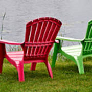Pink And Green Lounging Chairs By The Lake Art Print by Louise Heusinkveld
