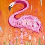 Pink And Orange Flamingo  Art Print