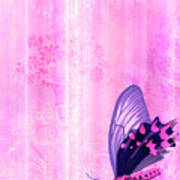 Pink And Purple Butterfly Companions 2 Art Print