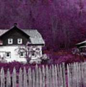Pink And Purple Enchanted Cottage Art Print
