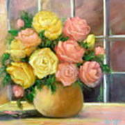 Pink And Yellow Roses Art Print