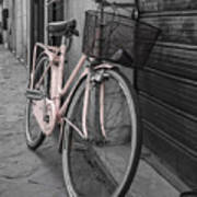 Pink Bicycle In Rome Art Print