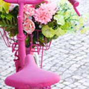 Pink Bike Print by Carlos Caetano