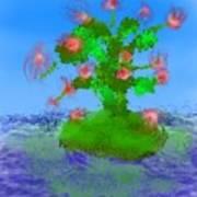 Pink Birds Ongreen Island Art Print