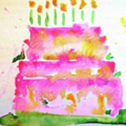 Pink Birthday Cake Art Print