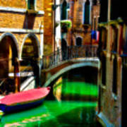 Pink Boat And Canal Art Print