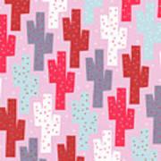 Pink Cactus Pattern Art Print