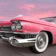 Pink Cadillac Sunset Art Print