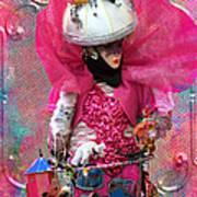 Pink Carnival Costumed Lady Art Print